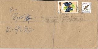1994 Kenya Registered Cover Meru To Los Angeles Ca Usa Butterfly & Bird photo