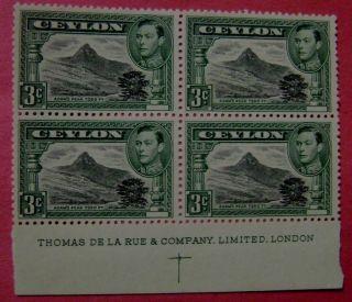 Sri Lanka (ceylon) - Sg 387 King Geoirge Vi Adam Speak Blk Four photo