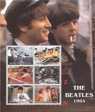 Congo - 2004 The Beatles 1964 - 6 Stamp Deluxe Sheet - 3a - 416 photo