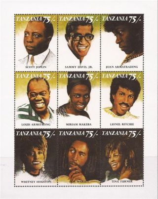 Tanzania - 1992 Black Music Artists - 9 Stamp Sheet - 20e - 062 photo