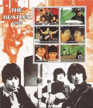 Congo - 2004 The Beatles 1965 - 6 Stamp Deluxe Sheet - 3a - 417 photo