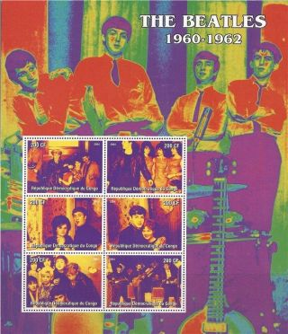 Congo - 2004 The Beatles 1960 - 1962 - 6 Stamp Deluxe Sheet - 3a - 414 photo