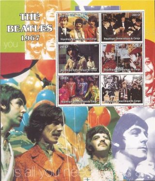Congo - 2004 The Beatles 1967 - 6 Stamp Deluxe Sheet - 3a - 419 photo