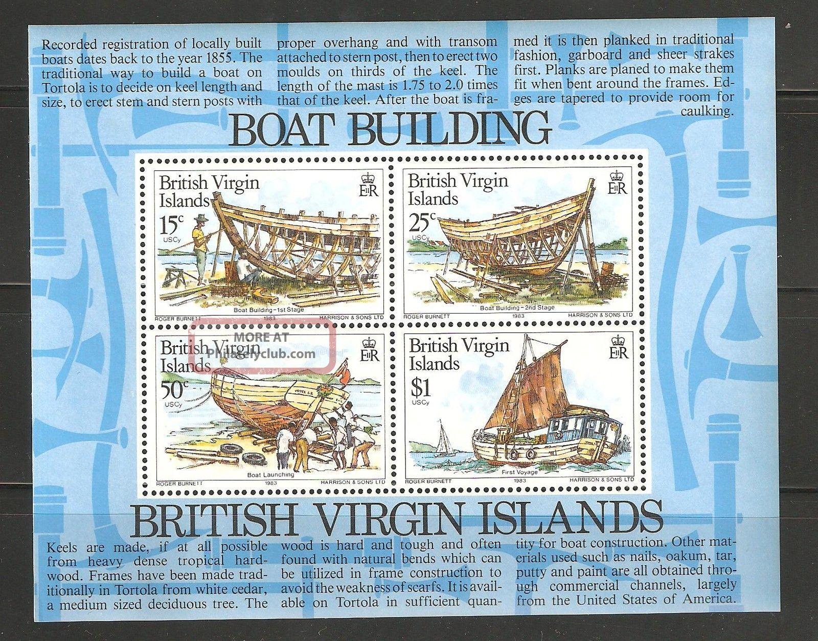 British Virgin Islands 1983 Sc 450 - 453a Boat Building Souvenir Vf British Colonies & Territories photo