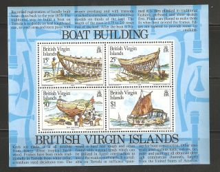 British Virgin Islands 1983 Sc 450 - 453a Boat Building Souvenir Vf photo