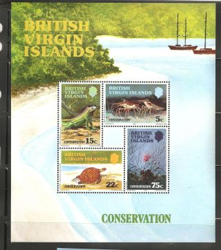 British Virgin Islands 1979 Sc 346 - 349a Conservation Souvenir Sht Vf photo