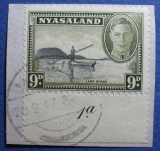 1945 Nyasaland 9d Scott 75 S.  G.  151 On Piece  Cs08921 photo