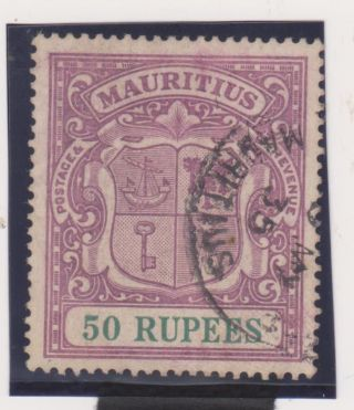 Kgv Mauritius 1922 50r Sg 222 Vf,  Cat £2500 - With Cert.  Very Rare photo