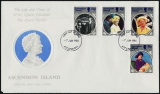 Ascension Island 372 - 5 Fdc Queen Mother 85th Birthday photo