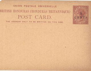 British Honduras Postal Card Victoria 5c On1 1/2 Penny Surcharge photo