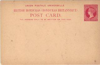 British Honduras Postal Card Victoria Three Cents photo
