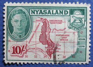 1945 Nyasaland 10s Scott 80 S.  G.  156  Cs08933 photo