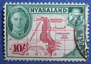 1945 Nyasaland 10s Scott 80 S.  G.  156  Cs08934 photo