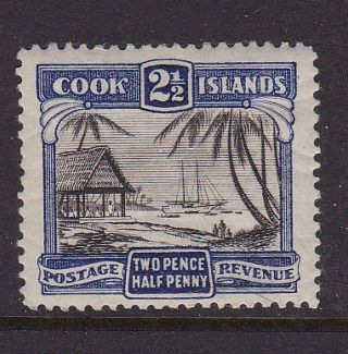 Cook Islands 1938 - 40 2 1/2d Blue/blk Pictorial Definitive Mlh photo