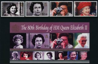 Solomon Islands 1039 - 43 Queen Elizabeth 80th Birthday (crease) photo