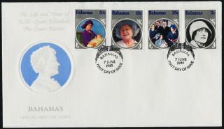 Bahamas 580 - 3 Fdc Queen Mother,  Royalty photo