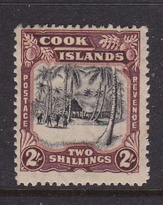 Cook Islands 1938 - 40 2 Shillings Brown Pictorial Definitive Mlh photo