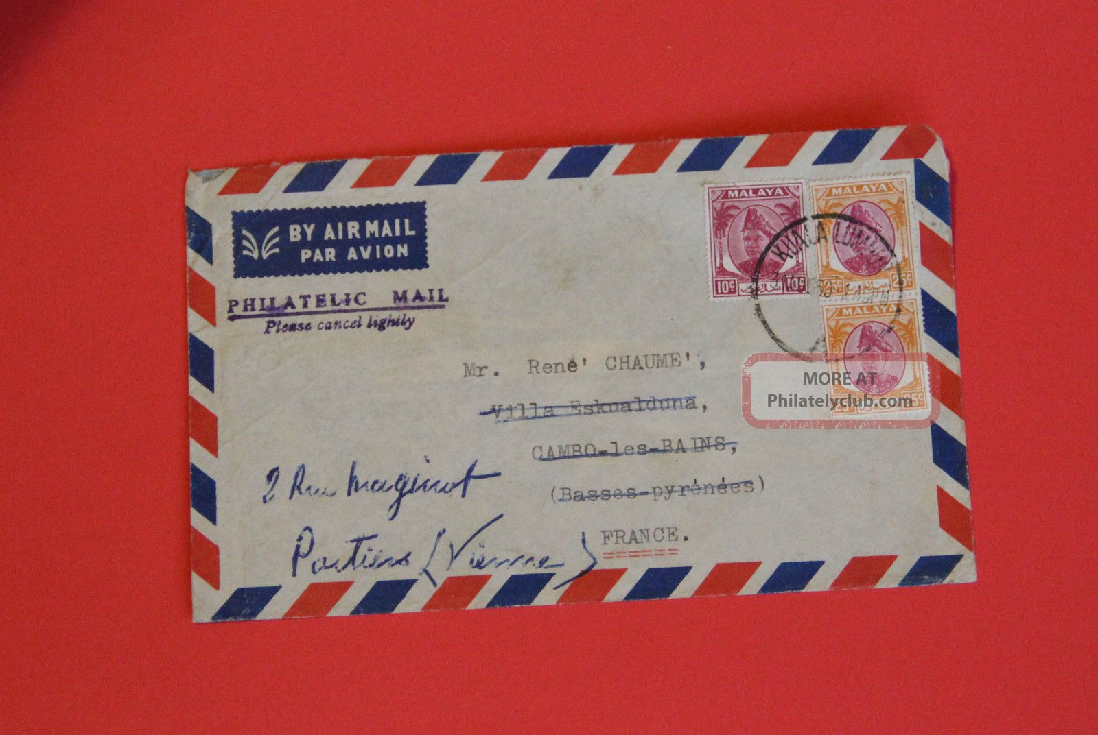 Selangor Malaya 1950 Airmail Cover To France Sultan Stamps photo