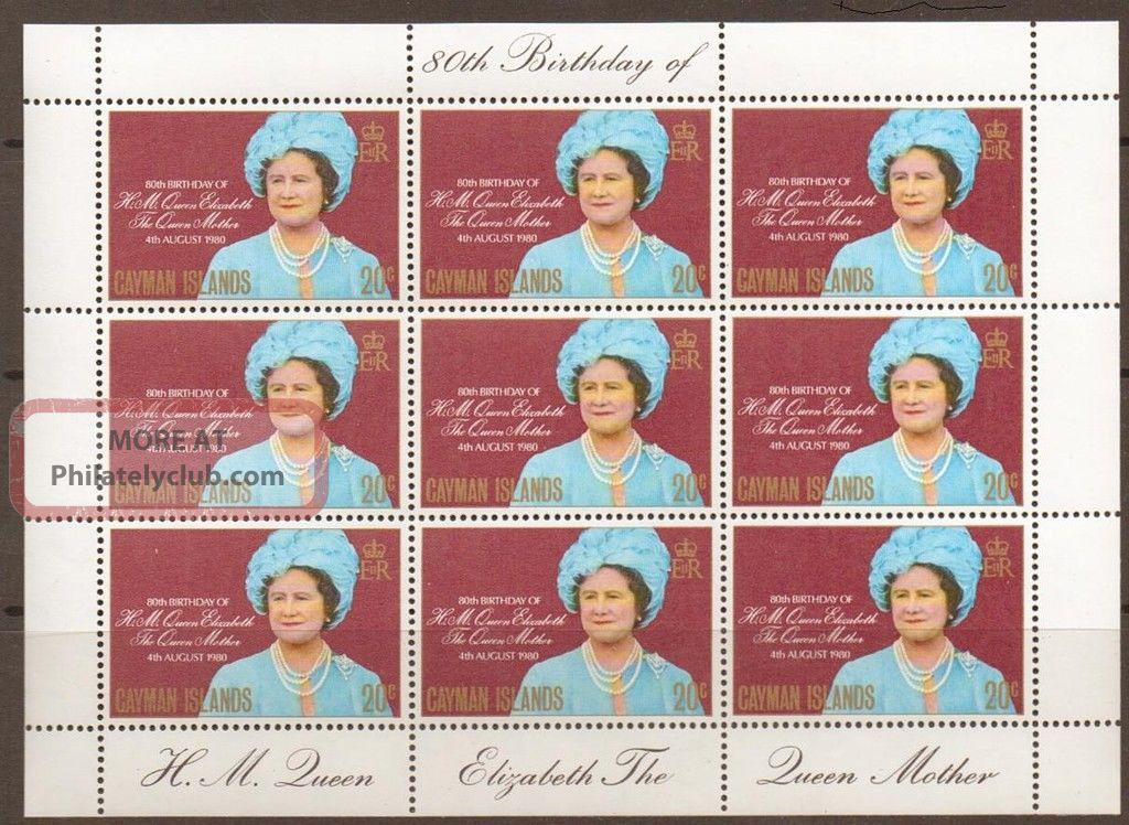 Cayman Islands Sg506 1980 Queen Mum Sheetlet Of 9 British Colonies & Territories photo