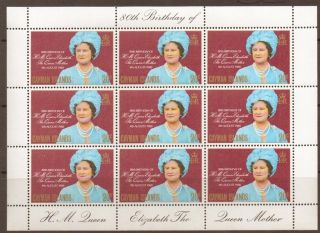Cayman Islands Sg506 1980 Queen Mum Sheetlet Of 9 photo