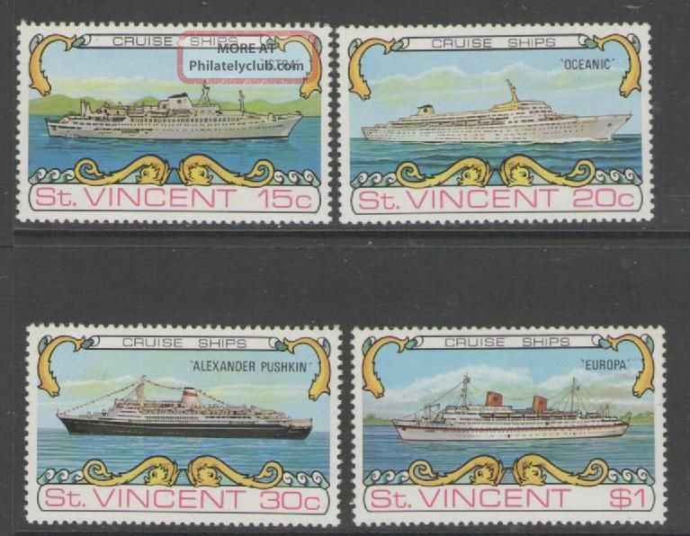 St.  Vincent Sg387/90 1974 Cruise Ships British Colonies & Territories photo