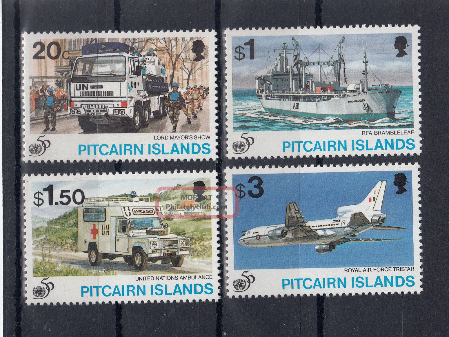 4007) Pitcairn Sg 483/486 / 50 Years Un / 50 Années Uno // 50 Jahre Uno British Colonies & Territories photo