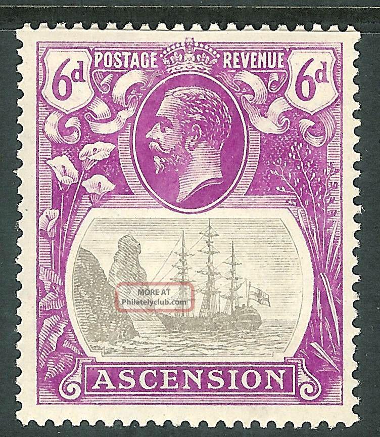 Ascension 1924 Grey - Black/bright - Purple 6d Sg16 British Colonies & Territories photo