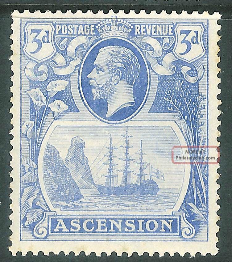 Ascension 1924 Blue 3d Sg14 British Colonies & Territories photo