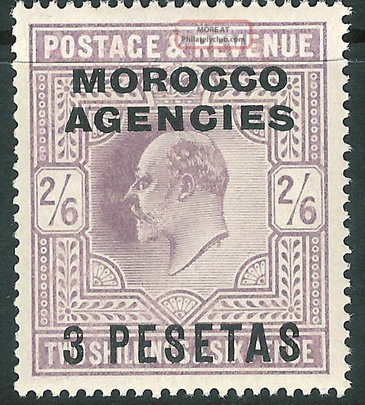 Morocco Agencies 1907 Pale - Dull - Purple 3p On 2/6d Sg121 British Colonies & Territories photo