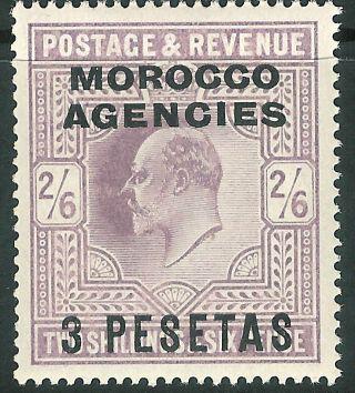 Morocco Agencies 1907 Pale - Dull - Purple 3p On 2/6d Sg121 photo