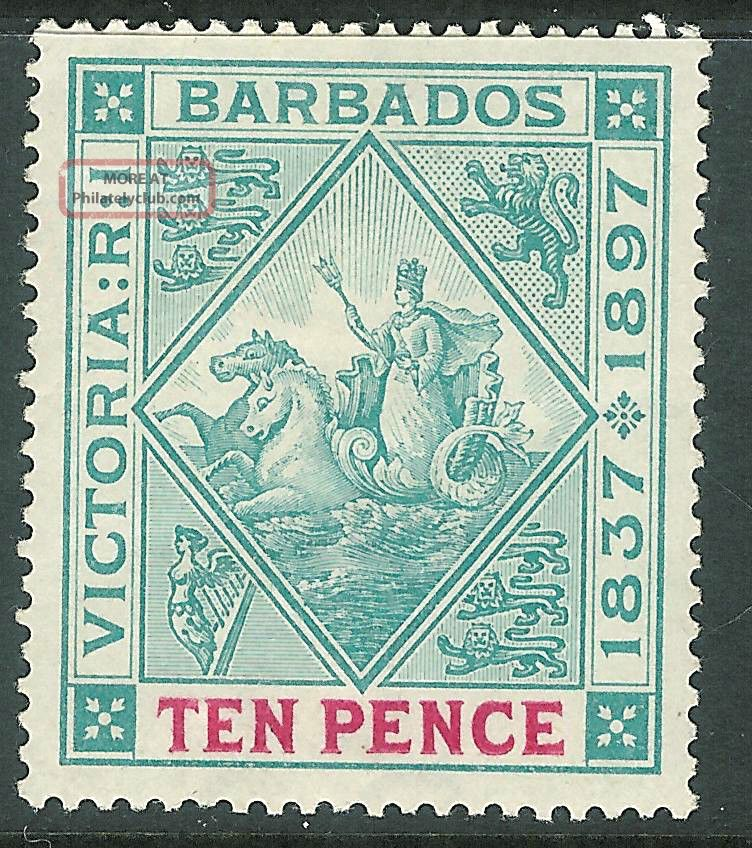 Barbados 1897 Diamond Jubilee Blue - Green/carmine 10d Sg123 British Colonies & Territories photo