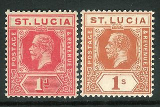 St Lucia 1921 Rose - Carmine 1d Orange - Brown 1/ - Sg92/103 photo