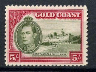 Gold Coast 1938 - 43 Kgvi Sg 131,  5s Olive Green And Carmine P12 A54150 photo