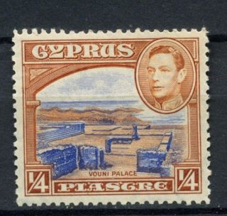 Cyprus 1938 - 51 Kgvi Sg 151 1/4pi Ultramarine & Orange Brown A54113 photo