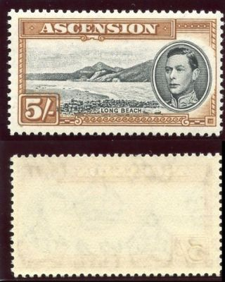 Ascension 1938 Kgvi 5s Black & Yellow - Brown Perf 13 Mlh.  Sg 46a.  Sc 48. photo