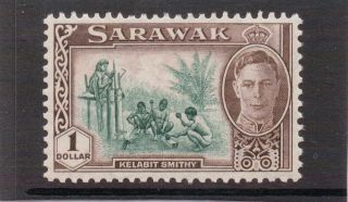 Sarawack G V1 1950 $1 Green&chocolate Sg 183 Nhm photo
