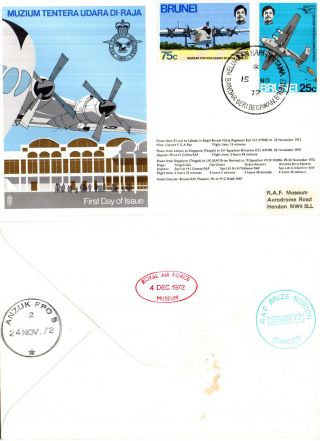 Brunei 1972 Muzium Tentera Udara Di - Raja Flown Commemorative Cover photo