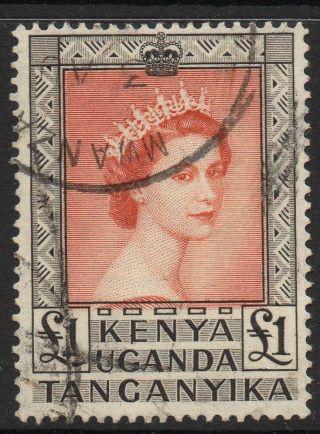 Kenya,  Uganda & Tanganikya Sg180 1954 £1 Red & Black Fine photo