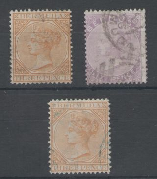 Bermuda Sg5,  5b & 7 1873 - 5 Fine Early Qv Cc Wat Cat £237 photo