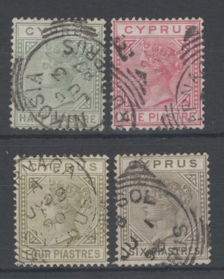 Cyprus Bet Sg16a & 21 Fine Qv Selection Of 4 Cat £58.  75 photo