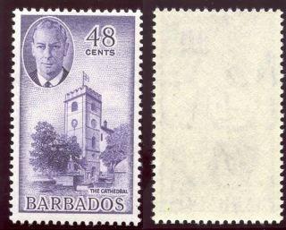Barbados 1950 Kgvi 48c Violet.  Sg 279.  Sc 224. photo