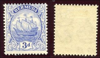Bermuda 1922 Kgv 3d Ultramarine.  Sg 83.  Sc 88. photo
