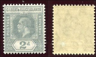 Gilbert & Ellice Is 1912 Kgv 2d Greyish Slate Mlh.  Sg 14.  Sc 16. photo