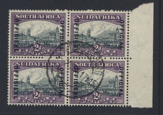 South Africa 1934 Official 2d Marginal Block. .  Cv£220+. . .  Sgo14a photo