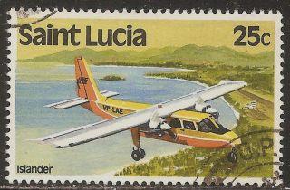 1980 - 84 St Lucia: Scott 508 - Transport - Islander Air Plane (25 Cent) - photo
