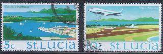 1970 - 75 St Lucia: Scott 264,  266 (2) - Tourist Attractions (5 & 10 Cent) - photo