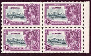 Bahamas 1935 Kgv Silver Jubilee 1s Block Of Four.  Sg 144.  Sc 95. photo
