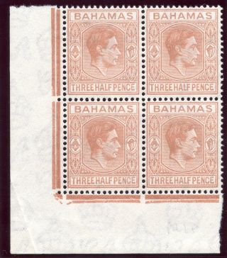 Bahamas 1948 Kgvi 1½d Pale Red - Brown Block Of Four.  Sg 151a. photo