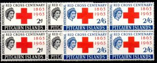 Pitcairn Islands Sg34/5 1963 Red Cross Blk Of 4 photo