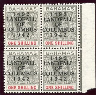 Bahamas 1942 Kgvi 1s Brownish Grey & Scarlet Block Of Four.  Sg 171. photo